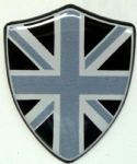 3D GEL sticker  SET of 2 'UNION FLAG SHIELD '  Size approx 28x35 mm. MONO